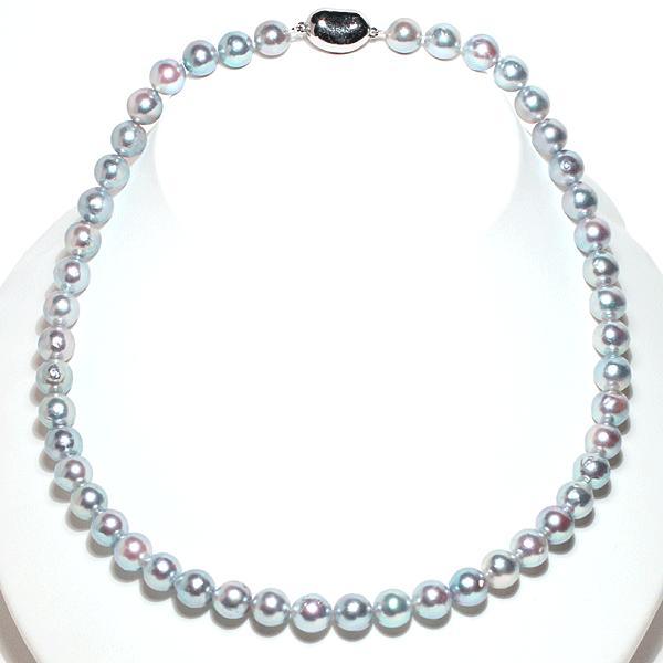 パールネックレス ナチュラルブルー色アコヤ真珠8.0-8.5mmネックレス セミラウンド形〜バロック形 wizem 10