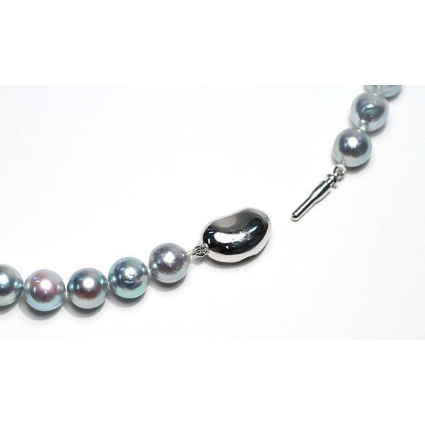 パールネックレス ナチュラルブルー色アコヤ真珠8.0-8.5mmネックレス セミラウンド形〜バロック形 wizem 03