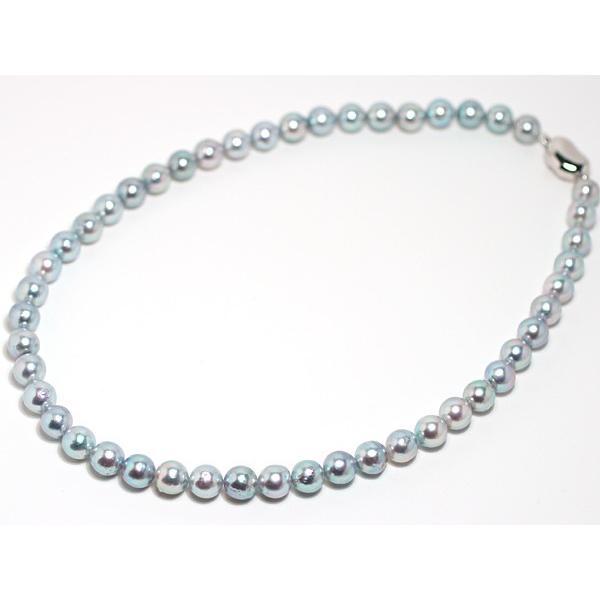 パールネックレス ナチュラルブルー色アコヤ真珠8.0-8.5mmネックレス セミラウンド形〜バロック形 wizem 04