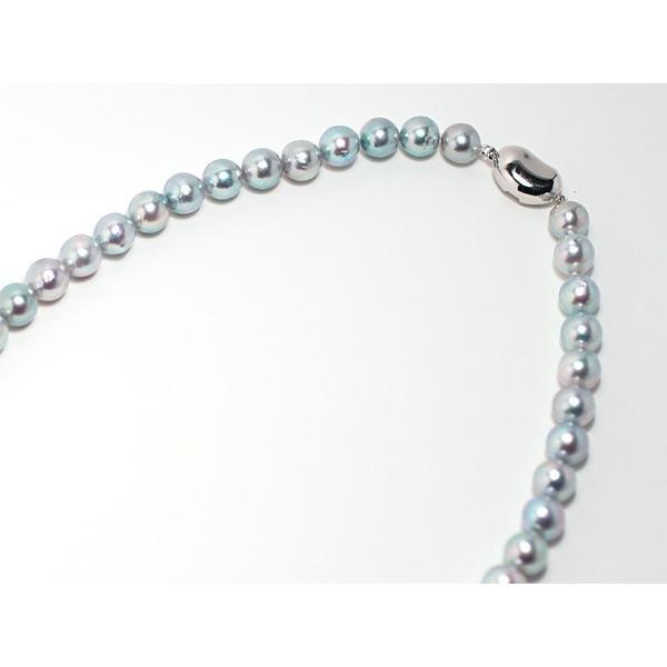 パールネックレス ナチュラルブルー色アコヤ真珠8.0-8.5mmネックレス セミラウンド形〜バロック形 wizem 05