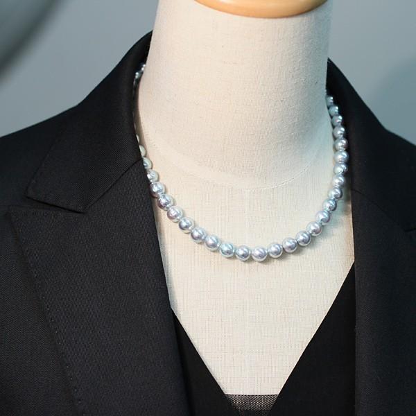 パールネックレス ナチュラルブルー色アコヤ真珠8.0-8.5mmネックレス セミラウンド形〜バロック形 wizem 07