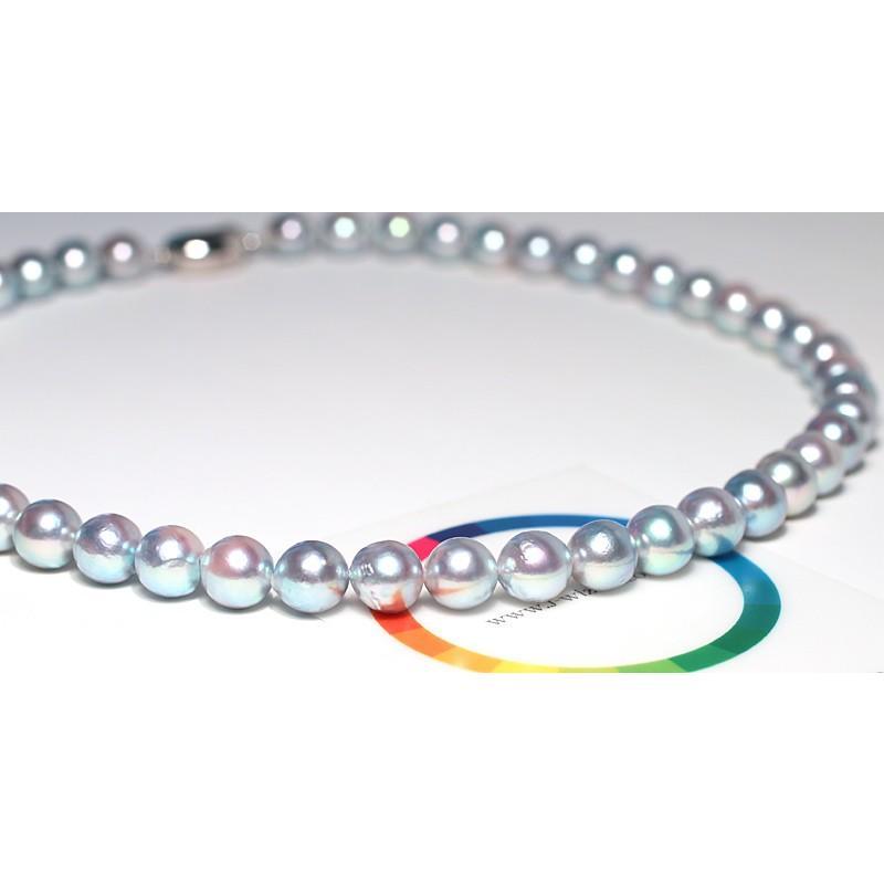 パールネックレス ナチュラルブルー色アコヤ真珠8.0-8.5mmネックレス セミラウンド形〜バロック形 wizem 08