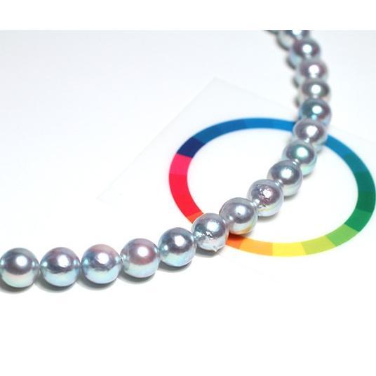 パールネックレス ナチュラルブルー色アコヤ真珠8.0-8.5mmネックレス セミラウンド形〜バロック形 wizem 09