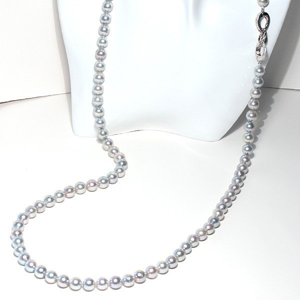 ナチュラルブルー色アコヤ真珠ロングネックレス8.5-9mm約88cmロングにも2連にもアレンジ可 wizem
