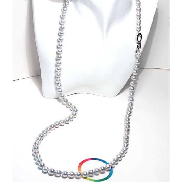 ナチュラルブルー色アコヤ真珠ロングネックレス8.5-9mm約88cmロングにも2連にもアレンジ可 wizem 02