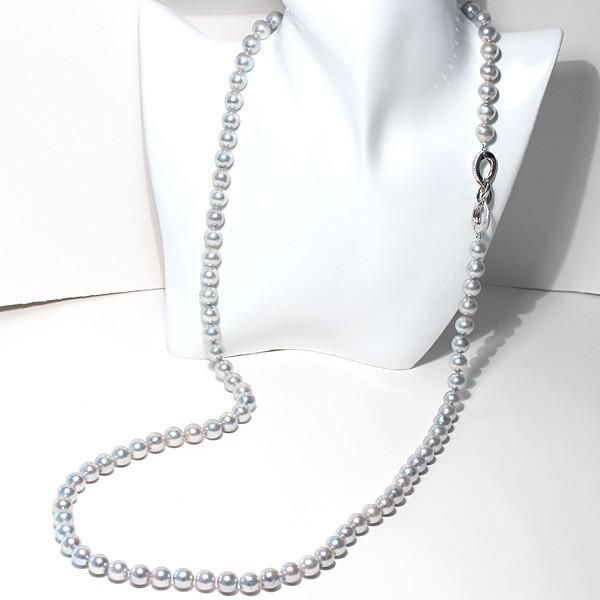 ナチュラルブルー色アコヤ真珠ロングネックレス8.5-9mm約88cmロングにも2連にもアレンジ可 wizem 05