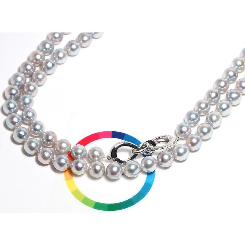 ナチュラルブルー色アコヤ真珠ロングネックレス8.5-9mm約88cmロングにも2連にもアレンジ可 wizem 06