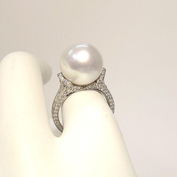 パール指輪 白蝶真珠リング13.5mmプラチナpt900 ダイヤリング サイズ12.5番|wizem|04