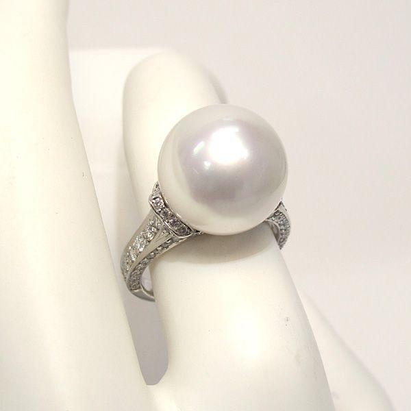 パール指輪 白蝶真珠リング13.5mmプラチナpt900 ダイヤリング サイズ12.5番|wizem|05