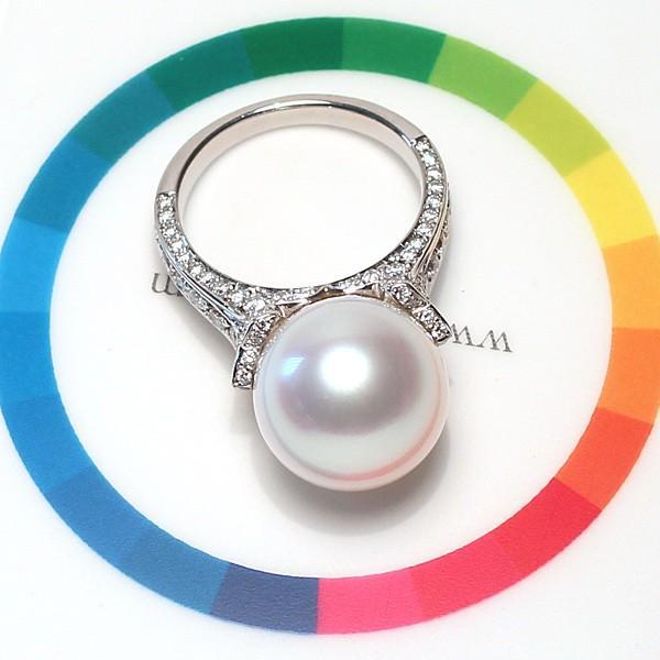 パール指輪 白蝶真珠リング13.5mmプラチナpt900 ダイヤリング サイズ12.5番|wizem|07