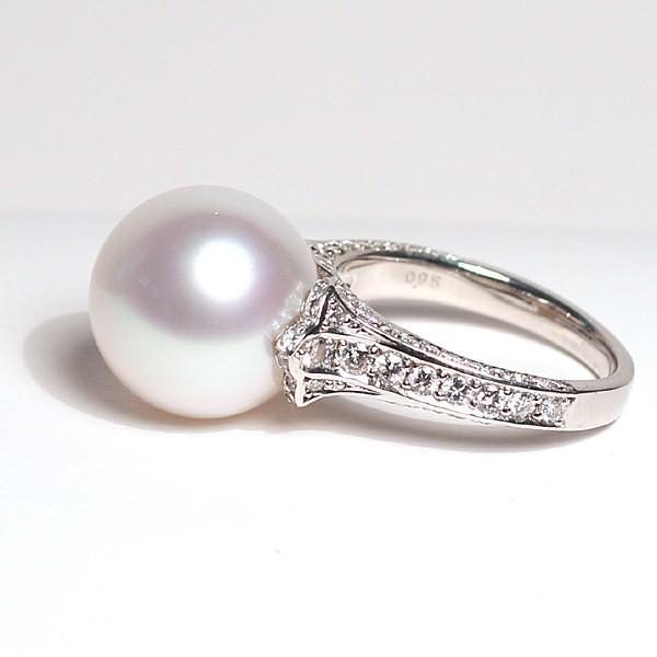 パール指輪 白蝶真珠リング13.5mmプラチナpt900 ダイヤリング サイズ12.5番|wizem|10