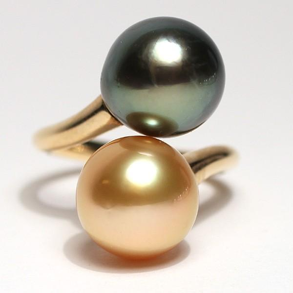 パールリング南洋真珠11mmUP2珠K18遊び心があるリングサイズ12.5指輪グリーン&ゴールド|wizem