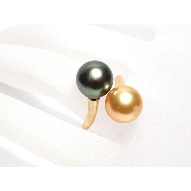 パールリング南洋真珠11mmUP2珠K18遊び心があるリングサイズ12.5指輪グリーン&ゴールド|wizem|03