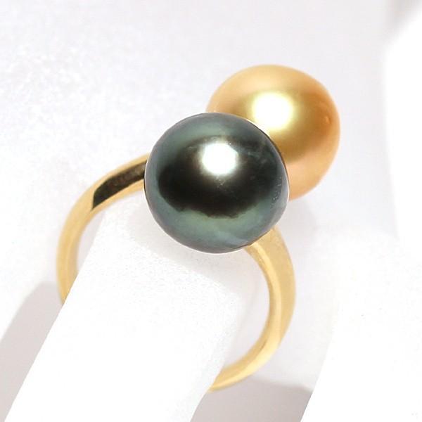 パールリング南洋真珠11mmUP2珠K18遊び心があるリングサイズ12.5指輪グリーン&ゴールド|wizem|06