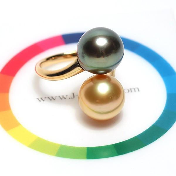 パールリング南洋真珠11mmUP2珠K18遊び心があるリングサイズ12.5指輪グリーン&ゴールド|wizem|07