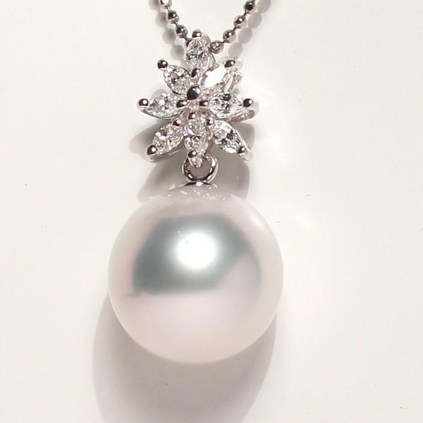 パールペンダント白蝶真珠幅12.8mm縦13mmプラチナ製マーキスカットダイヤモンドでゴージャス45cmフリーチェーン付属 wizem