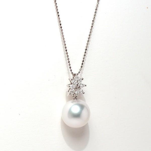 パールペンダント白蝶真珠幅12.8mm縦13mmプラチナ製マーキスカットダイヤモンドでゴージャス45cmフリーチェーン付属 wizem 02