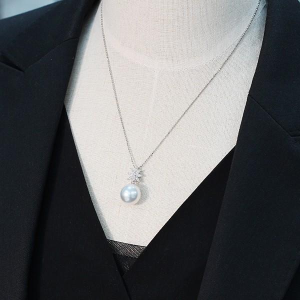パールペンダント白蝶真珠幅12.8mm縦13mmプラチナ製マーキスカットダイヤモンドでゴージャス45cmフリーチェーン付属 wizem 10