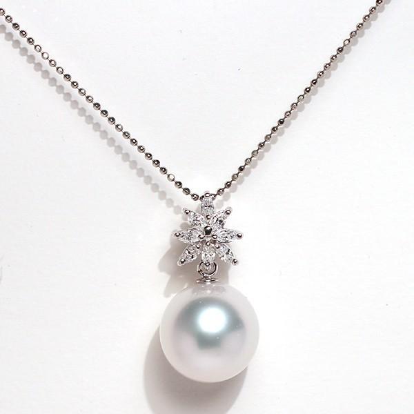 パールペンダント白蝶真珠幅12.8mm縦13mmプラチナ製マーキスカットダイヤモンドでゴージャス45cmフリーチェーン付属 wizem 04