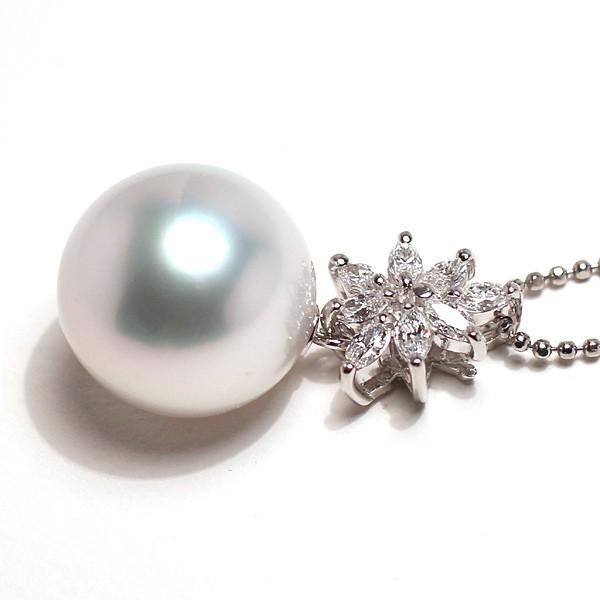 パールペンダント白蝶真珠幅12.8mm縦13mmプラチナ製マーキスカットダイヤモンドでゴージャス45cmフリーチェーン付属 wizem 05