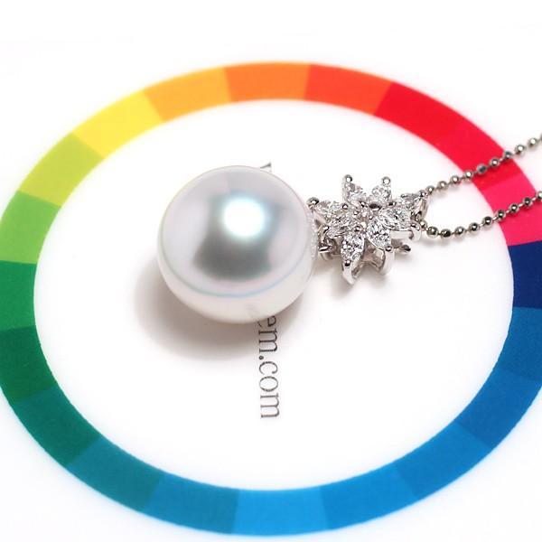 パールペンダント白蝶真珠幅12.8mm縦13mmプラチナ製マーキスカットダイヤモンドでゴージャス45cmフリーチェーン付属 wizem 08