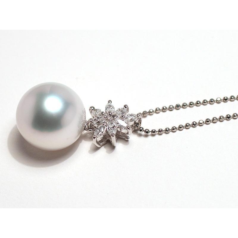 パールペンダント白蝶真珠幅12.8mm縦13mmプラチナ製マーキスカットダイヤモンドでゴージャス45cmフリーチェーン付属 wizem 09
