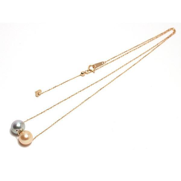 パールスルーチェーンネックレスK18最長45cm長さ調整可ゴールド&ブルー色南洋真珠2珠8.5mmUP wizem 03