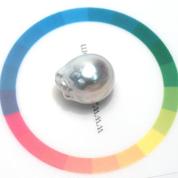 白蝶真珠バロック形ルース13.2mm×15.8mm1珠青色を帯びた白色|wizem|06