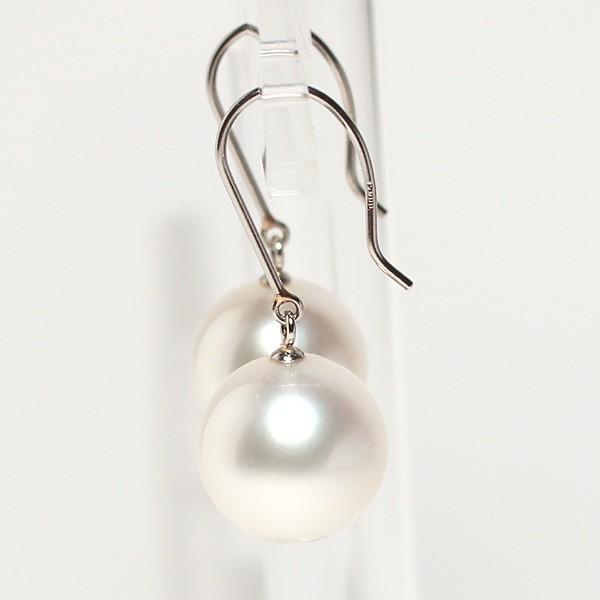 パールフックピアス丸形白蝶真珠11.1mmプラチナPt900つりばり型Lスウィングピアス|wizem|04