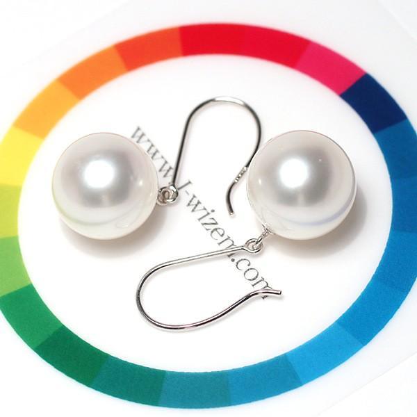 パールフックピアス丸形白蝶真珠11.1mmプラチナPt900つりばり型Lスウィングピアス|wizem|05