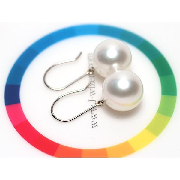 パールフックピアス丸形白蝶真珠11.1mmプラチナPt900つりばり型Lスウィングピアス|wizem|06