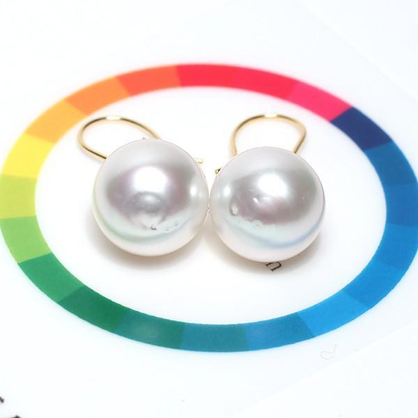 パールフックピアス 白蝶真珠 幅12.7mmバロック形 イエローゴールドK18つりばり型Lピアス|wizem|07