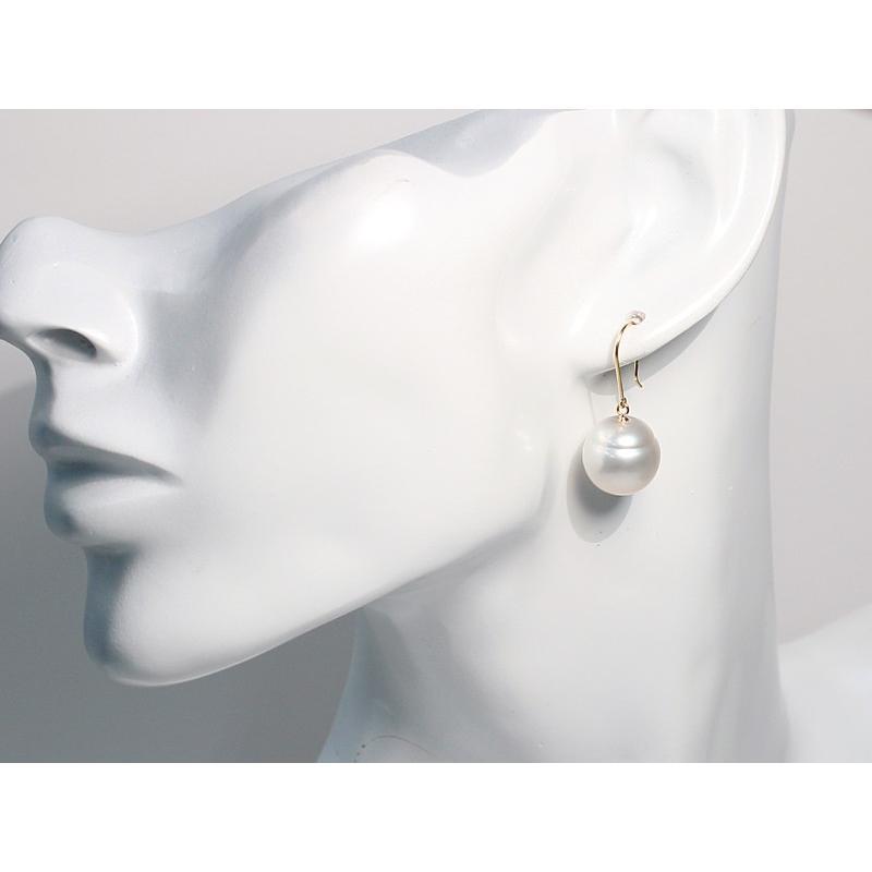 パールフックピアス 白蝶真珠 幅12.7mmバロック形 イエローゴールドK18つりばり型Lピアス|wizem|09