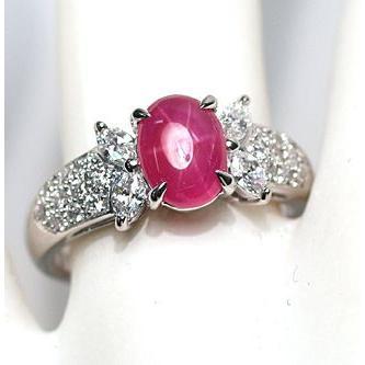 スタールビー指輪1.639ctプラチナダイヤリング ルース鑑別書付 スターが美しく浮かび上がる wizem