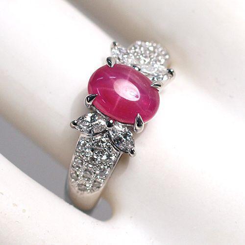 スタールビー指輪1.639ctプラチナダイヤリング ルース鑑別書付 スターが美しく浮かび上がる wizem 03