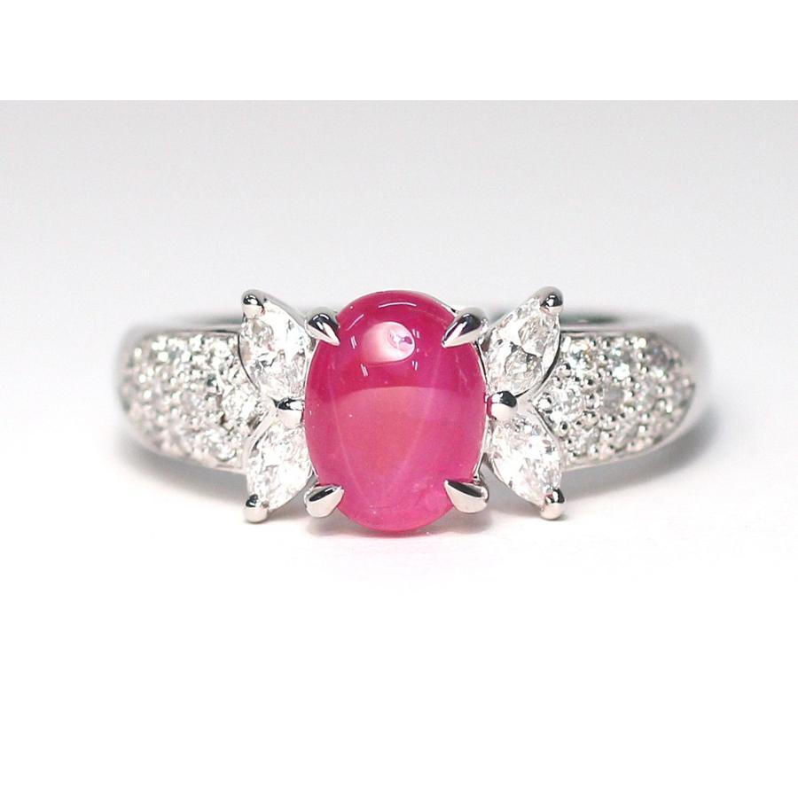スタールビー指輪1.639ctプラチナダイヤリング ルース鑑別書付 スターが美しく浮かび上がる wizem 08