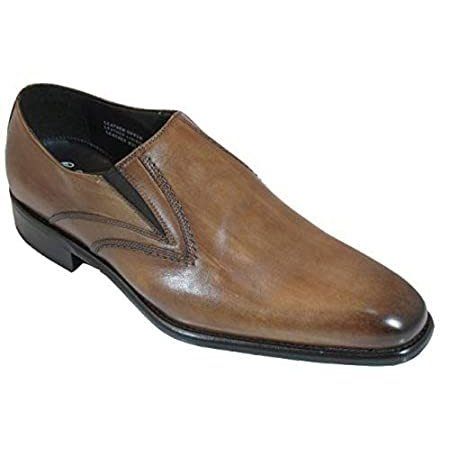 Toscana 7282 Men's Italian Slip On Dressy Shoes Brown Size 47