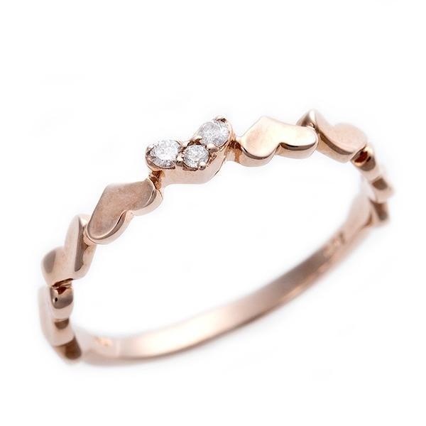 割引価格 ダイヤモンド ピンキーリング K10 ピンクゴールド ダイヤ0.03ct ハートモチーフ 1.5号 指輪, La Amalfi 8f783397