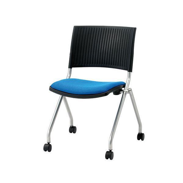 ジョインテックス 会議椅子(スタッキングチェア/ミーティングチェア) 肘なし キャスター付き FJC-K5 ブルー 〔完成品〕