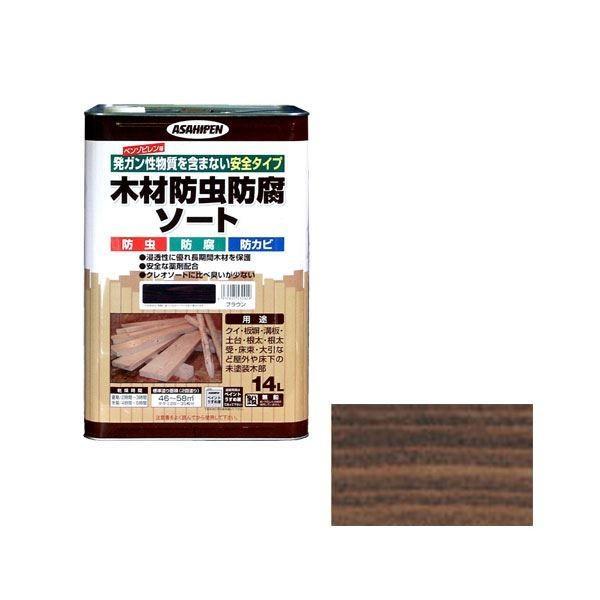 アサヒペン AP 木材防虫防腐ソート 14L ブラウン