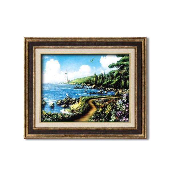 ダークブラウンアンティーク額 〔額装品〕世界の絵画 アラン・ギアナ絵画額9573F6「運命の岬」 wmstore