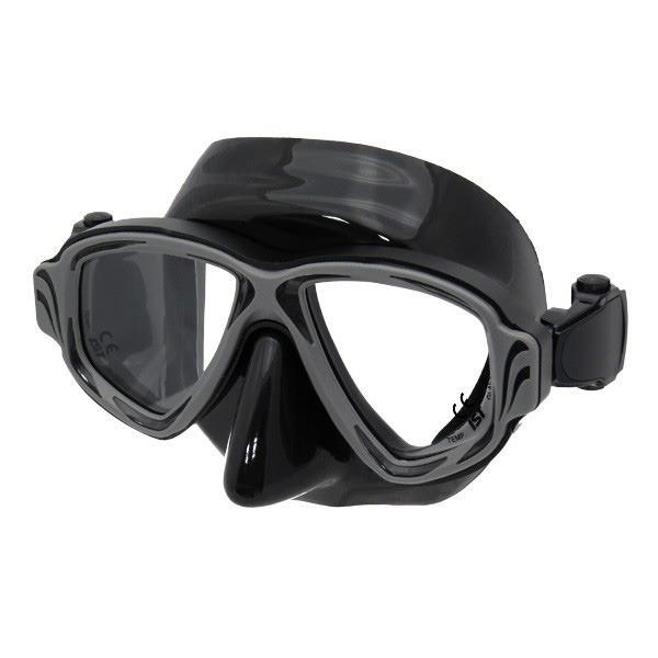 ダイビングマスク 〔BS-BK ブラック〕 2眼型 大人用 ハードケース付き 『SYNTHESIS IST PROLINE M-200』