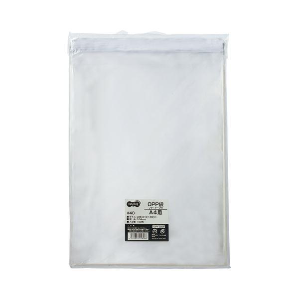 (まとめ) TANOSEE OPP袋 フタ・テープ付 A4用 225×310+40mm 1パック(100枚) 〔×10セット〕