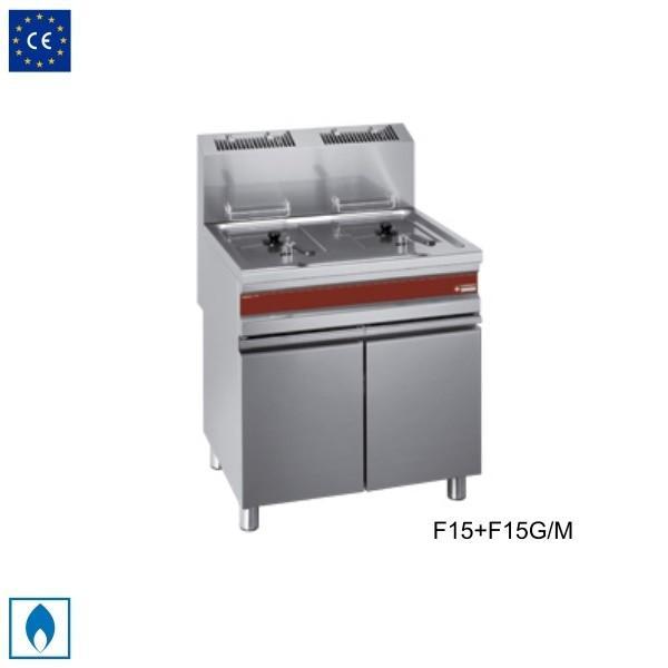 ガス式フライヤー 15L×二槽 浸管加熱式