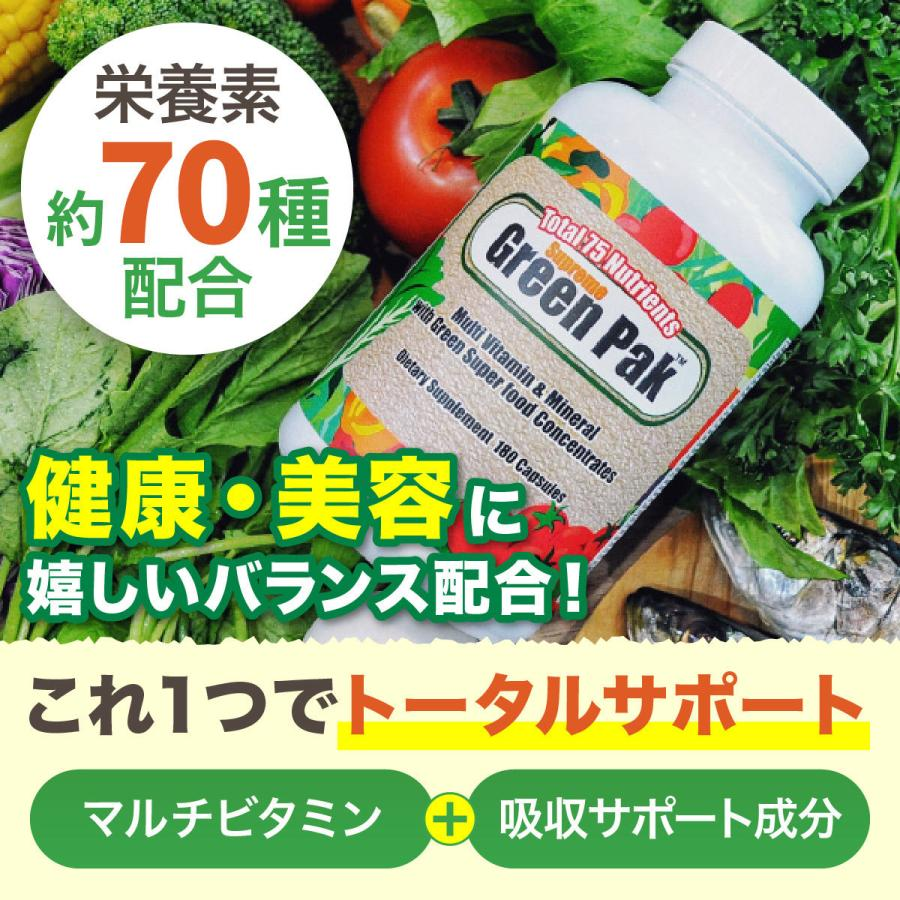 マルチビタミン ミネラル グリーンパック サプリ 180粒  Premium Foods プレミアムフーズ 生活習慣 womensfitness 03