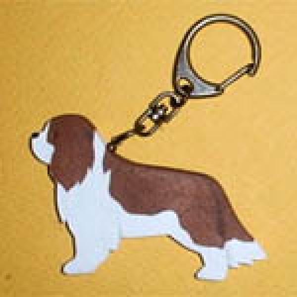 木製キーリング(キャバリア)[犬種別犬雑貨わんダフル]
