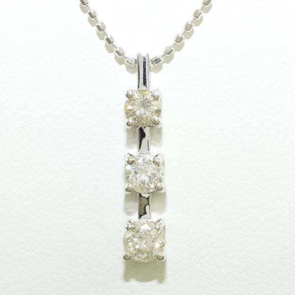 本物 ネックレス K18 18金 WG ホワイトゴールド ダイヤ 0.50 鑑別書, TAMAYA(玉屋) 260f24f0