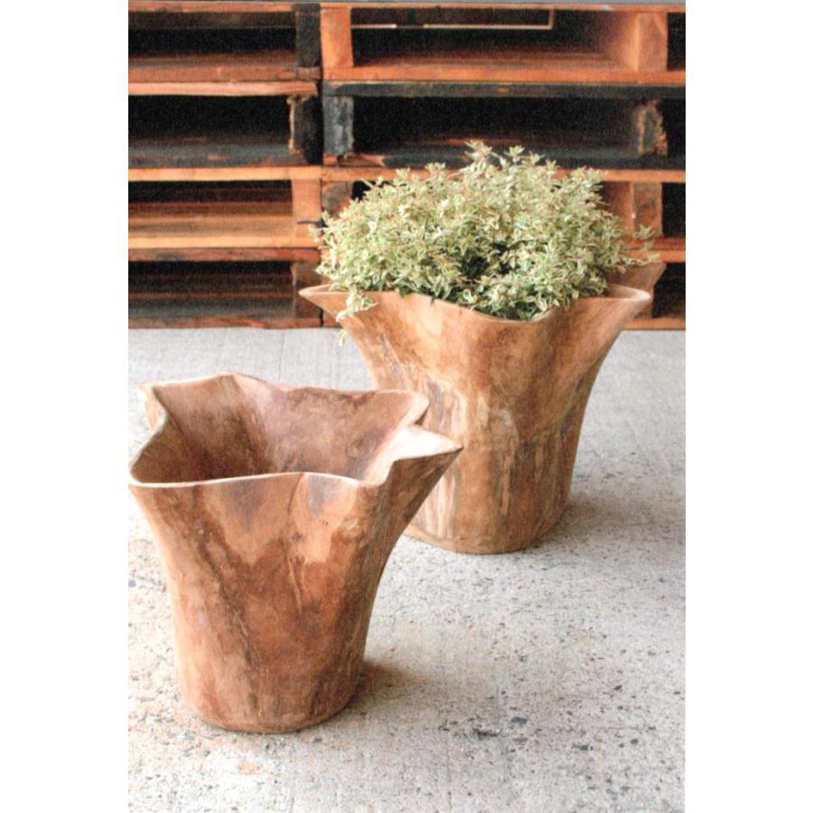 プランターカバー プランターポット チーク無垢 植木鉢カバー おしゃれ 鉢カバー