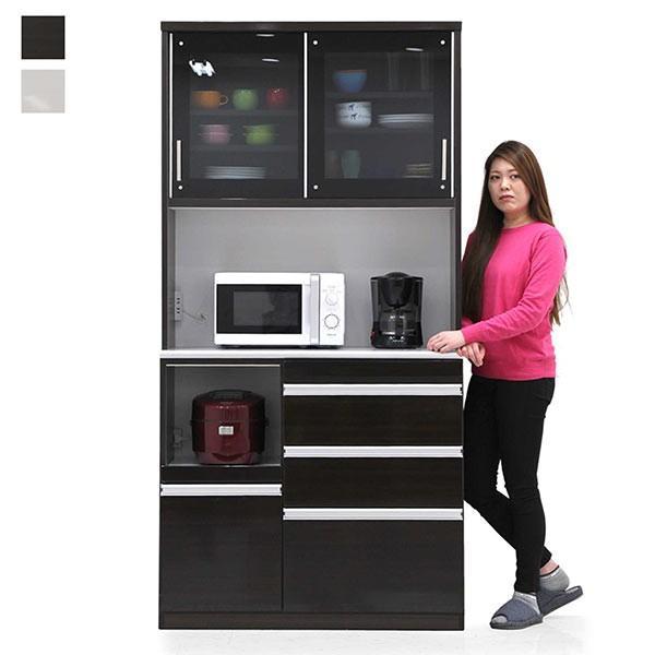 国産 ダイニングボード キッチンボード 幅100cm モイス機能付き ハイタイプ ホワイト ブラウン 選べる2色 食器棚 レンジ台
