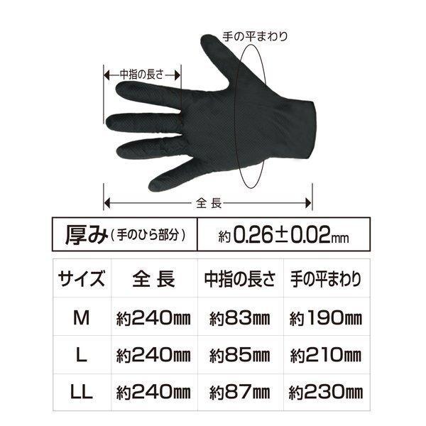 使い捨て手袋 エンジニアグローブ LL 50枚入 ニトリルゴム 自動車整備 工場作業 ブラック workway 06